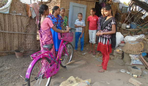 Animator Mrs. Parimala with her bicycle